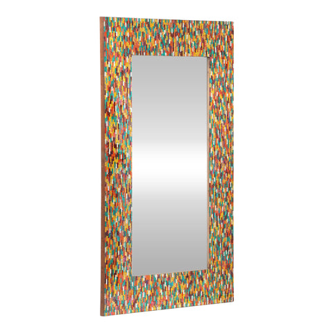Boho Handcrafted Rectangular Mosaic Wall Mirror, Multi-Colored - NH284413