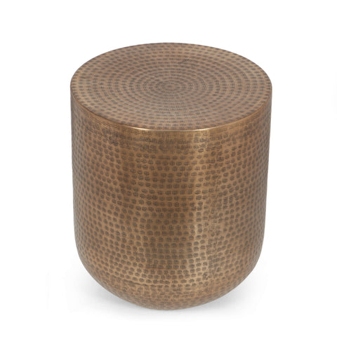 Handcrafted Boho Aluminum Drum Side Table, Aged Brass - NH845413