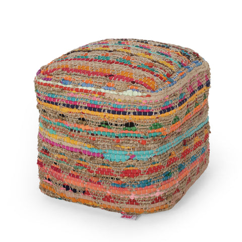 Handcrafted Boho Fabric Cube Pouf - NH528313