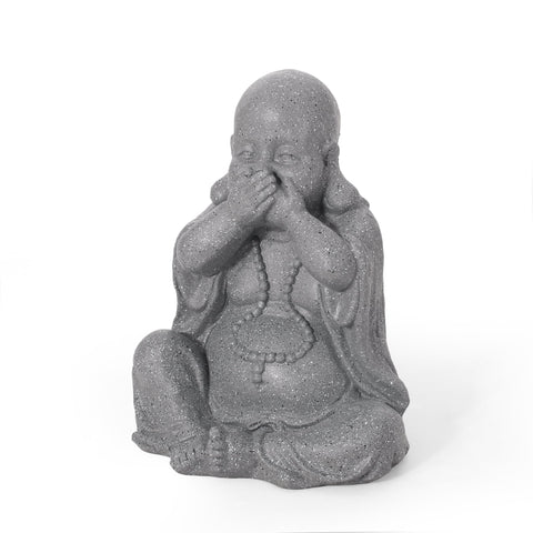 Outdoor Speak No Evil Monk Garden Statue, Stone Gray - NH463413