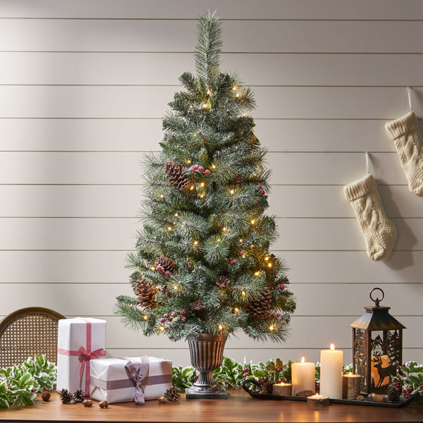 4-Foot Mixed Pine Pre-Lit Clear LED Pre-Decorated Artificial Potted Christmas Tree - NH535313