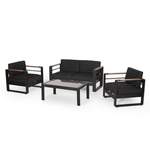 Outdoor Aluminum 4 Seater Chat Set, Black, Natural, and Gray - NH734413
