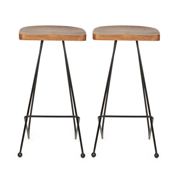 Handcrafted Modern Industrial Wood Bar Stools (Set of 2) - NH055313