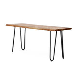 Handcrafted Modern Industrial Acacia Wood Dining Bench with Hairpin Legs - NH906313