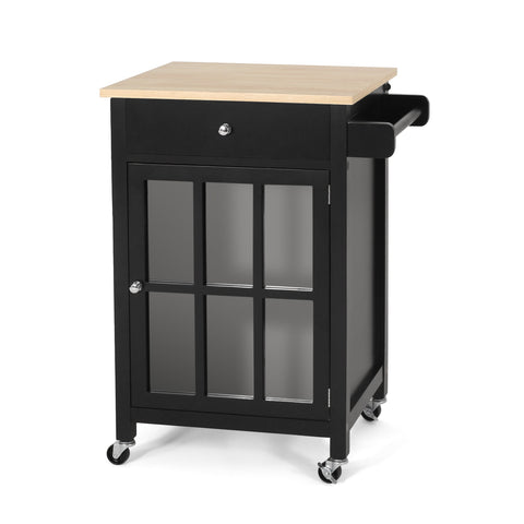 Contemporary Glass Paneled Kitchen Cart - NH693413