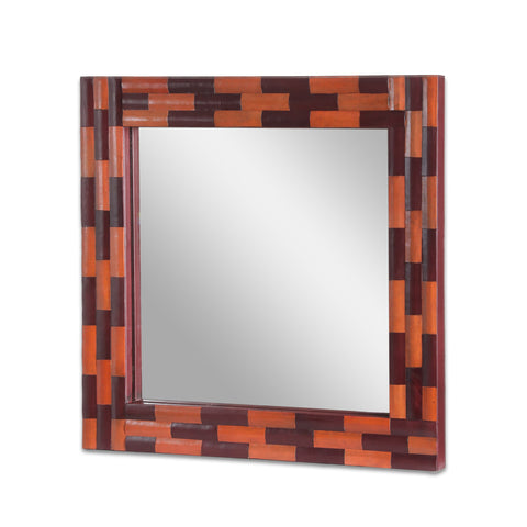 Handcrafted Boho Leather Square Wall Mirror - NH090413