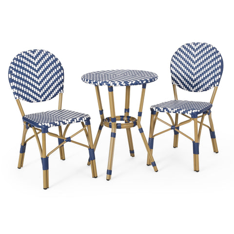 Outdoor Aluminum French Bistro Set, Navy Blue, White, and Bamboo Finish - NH254413