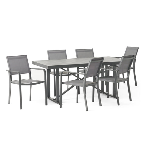 Outdoor Modern Industrial Aluminum 7 Piece Dining Set with Mesh Seating - NH405313