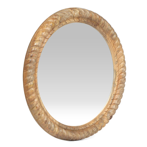 Traditional Handcrafted Round Mango Wood Wall Mirror, Natural - NH084413