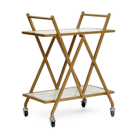Handcrafted Modern Glam Marble Bar Cart - NH217313