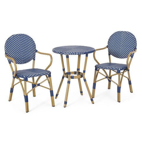 Outdoor Aluminum French Bistro Set, Dark Teal, White, and Bamboo Finish - NH354413