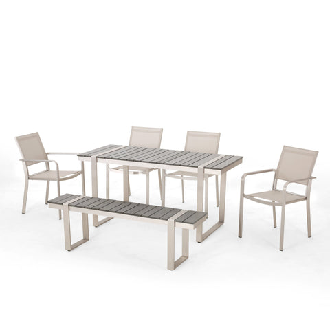 Outdoor 6 Piece Aluminum Dining Set - NH637313