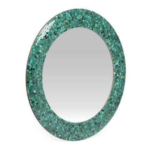 Boho Handcrafted Round Mosaic Wall Mirror, Green - NH184413
