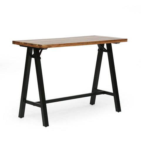 Modern Industrial Handcrafted Acacia Wood Desk, Natural and Black - NH423413