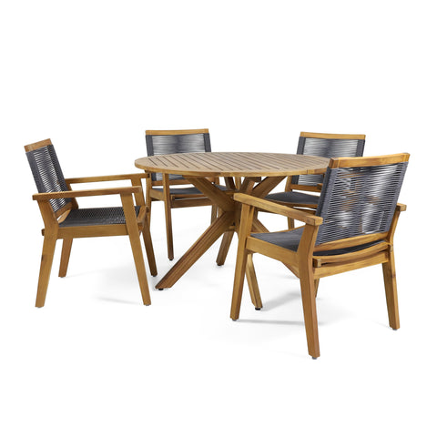 Outdoor 5 Piece Acacia Wood Dining - NH296313
