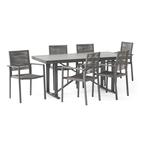 Outdoor Modern Industrial Aluminum 7 Piece Dining Set with Rope Seating - NH305313