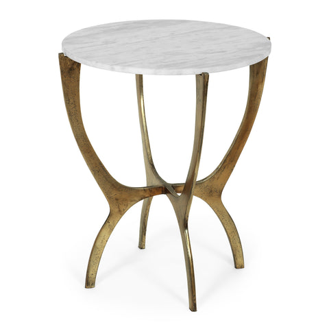 Boho Glam Handcrafted Marble Top Side Table - NH391413