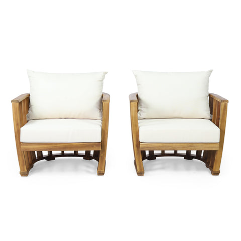 Outdoor Acacia Wood Club Chairs with Cushions (Set 2) - NH379313