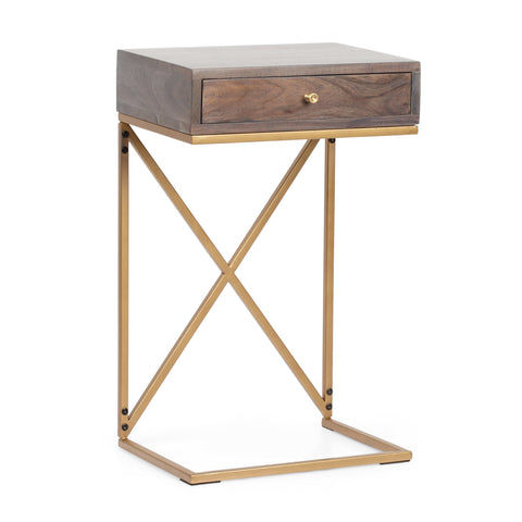 Rustic Glam Handcrafted Acacia Wood C-Shaped Side Table, Dark Brown and Gold - NH024413