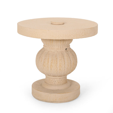 Outdoor Cast Stone Umbrella Holder Side Table - NH156313