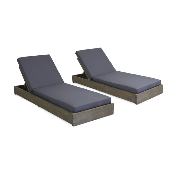 Outdoor Acacia Wood Chaise Lounge with Cushion (Set of 2) - NH614313