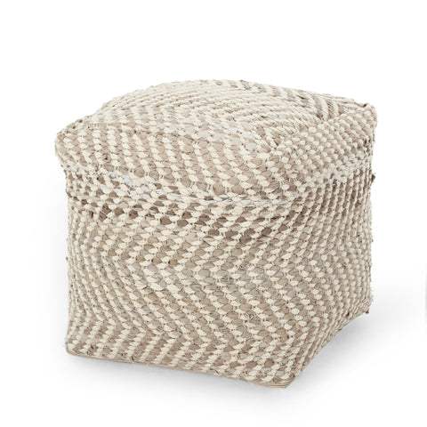 Handcrafted Boho Fabric Cube Pouf - NH038313