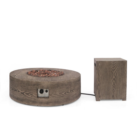 Outdoor 50,000 BTU Round Fire Pit with Tank Holder - NH540413