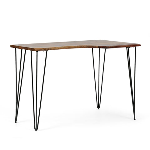 Modern Industrial Handcrafted Acacia Wood Desk with Hairpin Legs - NH142413