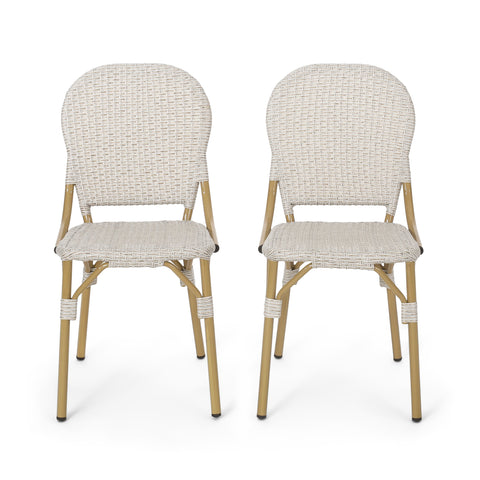 Outdoor Aluminum French Bistro Chairs, Set of 2, Light Brown and Bamboo Finish - NH244413