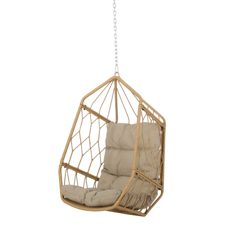 Outdoor/Indoor Wicker Hanging Chair with 8 Foot Chain (NO STAND), Light Brown and Tan - NH592413