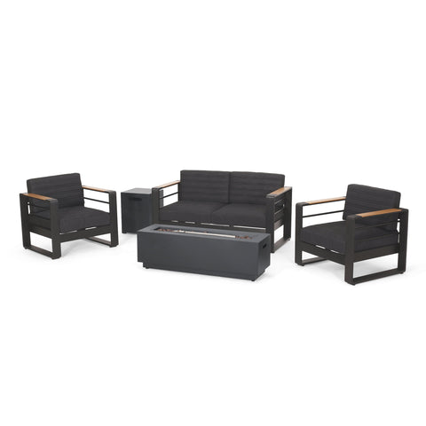 Outdoor Aluminum 4 Seater Chat Set with Fire Pit, Black, Natural, and Dark Gray - NH634413