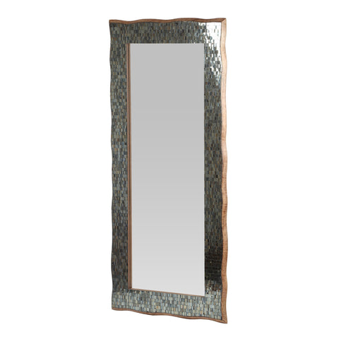 Boho Handcrafted Rectangular Mosaic Wall Mirror, Golden Brown - NH584413