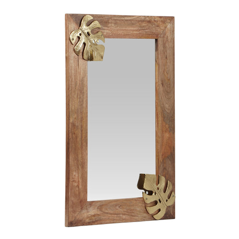 Boho Handcrafted Rectangular Mango Wood Wall Mirror, Natural and Antique Gold - NH384413