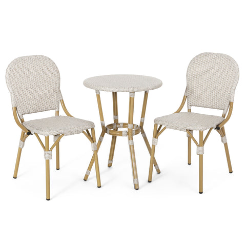 Outdoor Aluminum French Bistro Set, Light Brown and Bamboo Finish - NH454413