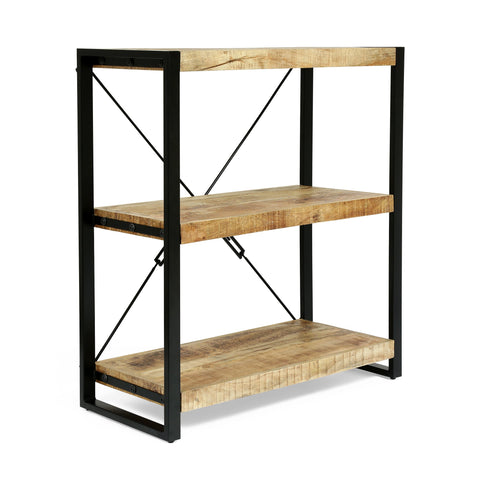 Modern Industrial Handcrafted 3 Shelf Mango Wood Shelving Unit, Natural and Black - NH623413