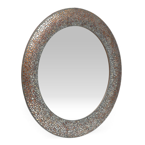 Traditional Handcrafted Round Mosaic Wall Mirror, Golden Brown - NH974413