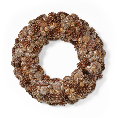 "18.5"" Pine Cone and Glitter Unlit Artificial Christmas Wreath - NH666313"