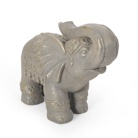 Outdoor Elephant Garden Statue, Gray and Gold - NH763413