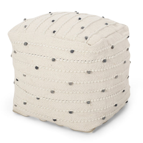 Boho Handcrafted Fabric Cube Pouf, Ivory and Blue - NH123413