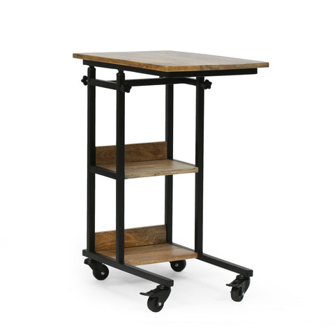 Modern Industrial Handcrafted Wooden Multi-Purpose Adjustable Height C-Shaped Side Table, Natural and Black - NH954413