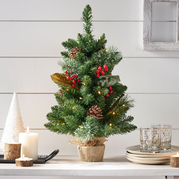 "24"" Pine Pre-Lit Clear LED Pre-Decorated Artificial Christmas Tree - NH635313"