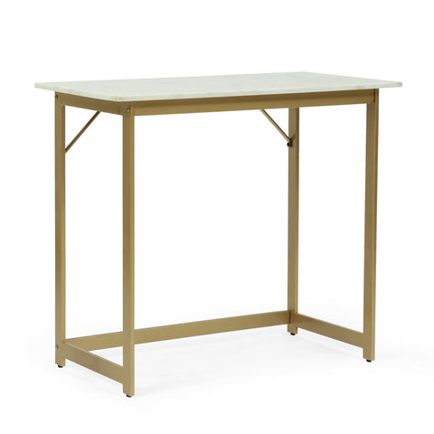 Modern Glam Handcrafted Marble Top Desk, White and Gold - NH364413