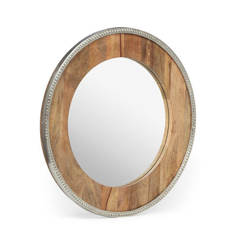 Boho Handcrafted Round Mango Wood Wall Mirror, Natural and Silver - NH684413