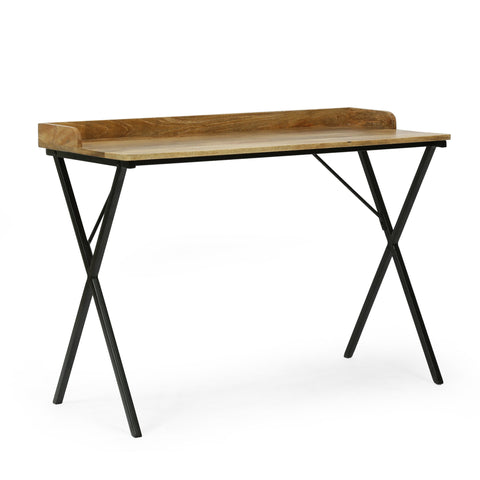 Modern Industrial Handcrafted Mango Wood Tray Top Desk, Natural and Black - NH264413