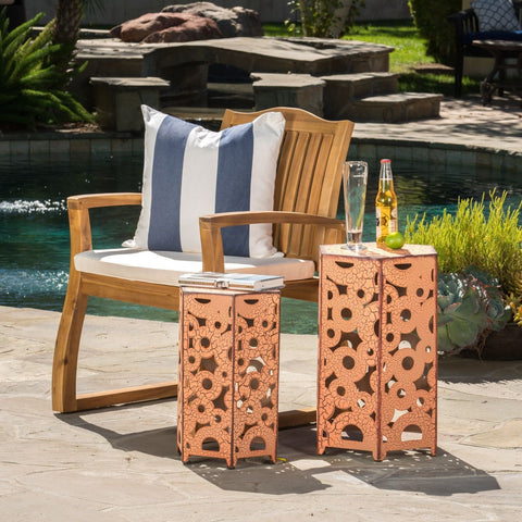 Outdoor Hexagonal Antique Orange Iron Accent Tables (Set of 2) - NH776692
