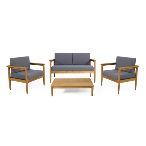 Outdoor Acacia Wood 4 Seater Chat Set - NH126313