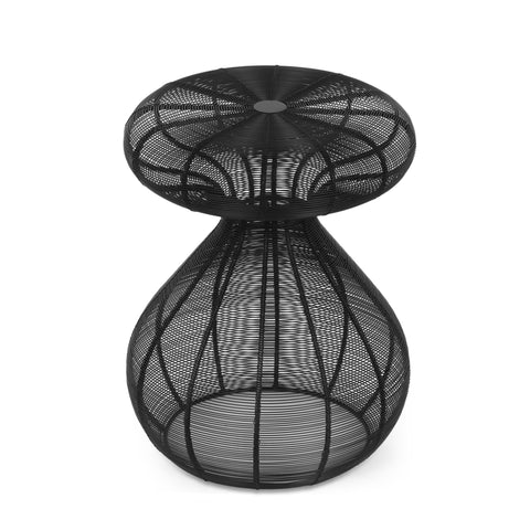 Handcrafted Modern Mushroom Side Table, Black - NH745413
