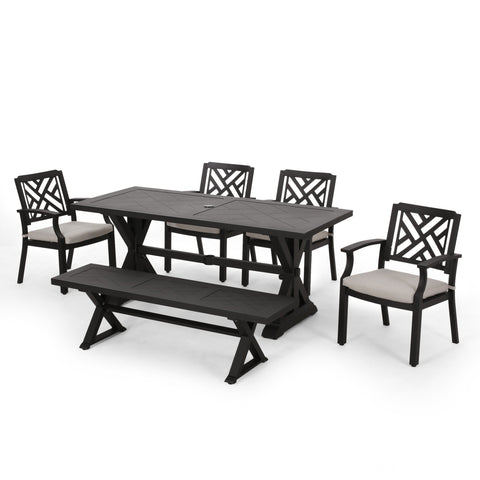 Outdoor Aluminum 6 Piece Dining Set with Bench - NH010413