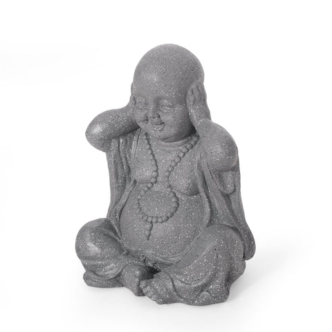 Outdoor Hear No Evil Monk Garden Statue, Stone Gray - NH363413