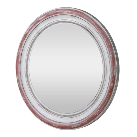 Boho Wood Round Mirror, Weathered White and Red - NH992413